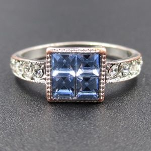 Jewelry - Vintage Size 8.5 Blue Glass Gemstones Band Ring